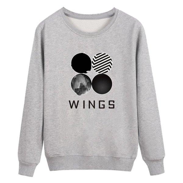 BTS Крылья письма печатных женщин пуловер весна осень повседневная хип-хоп пуловеры Kpop кофты женские топы