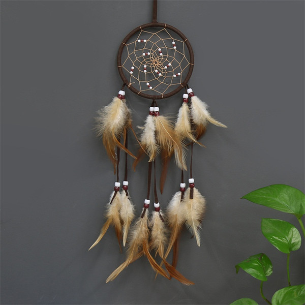 Manual Dream Catcher Pendant Dreamnet Feather Circular Hanging Drop Car Fashion Simple Wall Style Decorative Objects 6 2ocD1