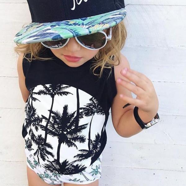 2019 Sommer neue Jungen T-Shirt INS Mädchen Kokospalmen Brief Schädel gedruckt Baumwolle lässig Tops Kinder runden Kragen ärmellose T-Shirts F6112
