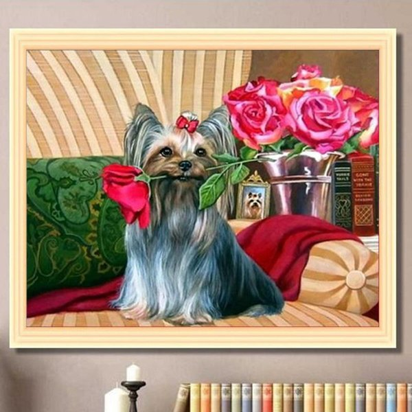 Animal dog rose 5D diamond painting best selling embroidery mosaic bedroom study sofa background wall children's room wall decoration