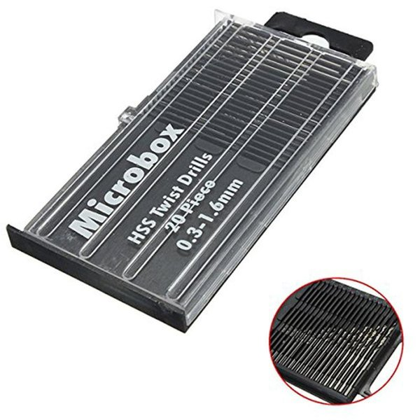 best selling 20Pcs Mini Drill Bit High Speed Steel Micro Twists Drill Bit Set 0.3mm-1.6mm with box