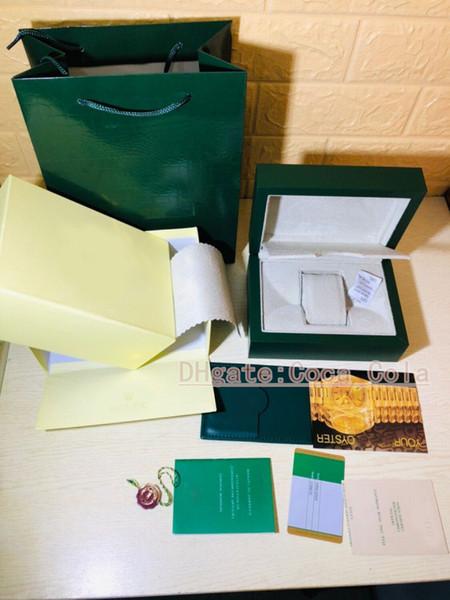 Montre de luxe BOXES pour 11661 Marque Hommes Montres Vert Original Véritable Bois Coffret Cadeau Papier Fit 116660 Boîte de Montre BOÎTE À MONTRE BOÎTE SUISSE Authentique