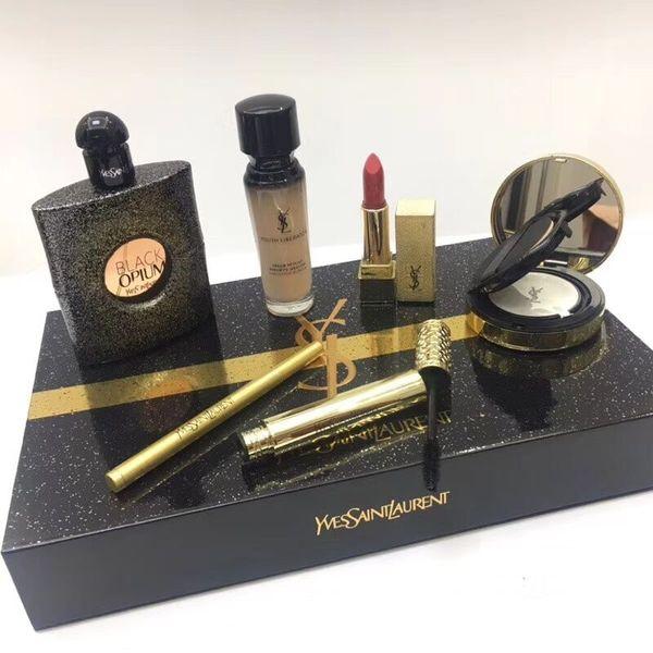 Las mujeres de maquillaje Set Negro 6 en 1 Colección del amortiguador de aire del lápiz labial Fundación 30ml Mascara Delineador de ojos Marca Kit 90ml de perfume con la caja de regalo M12113