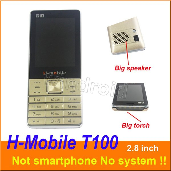 """Cheapest H-Mobile T100 2.8"""" Mobile Phone Dual Sim Quad Band 2G GSM Phone Unlocked with big Flashlight torch speaker whats app Free shipping"""