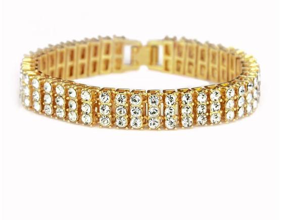 Neue europäische und amerikanische Pop-Hip-Hop-Männer Persönlichkeit 3 Reihen Diamant Zubehör Armband Armband Mode trendy Handschmuck