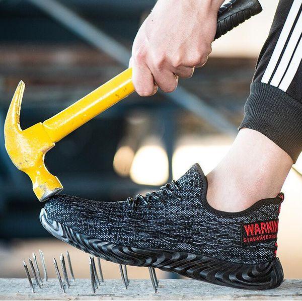 Nouveau chaussures de sécurité pour hommes 2019 en plein air respirant femmes en acier Toe Cap anti-dérapant en acier en caoutchouc anti-crevaison travail Sneaker Bottes
