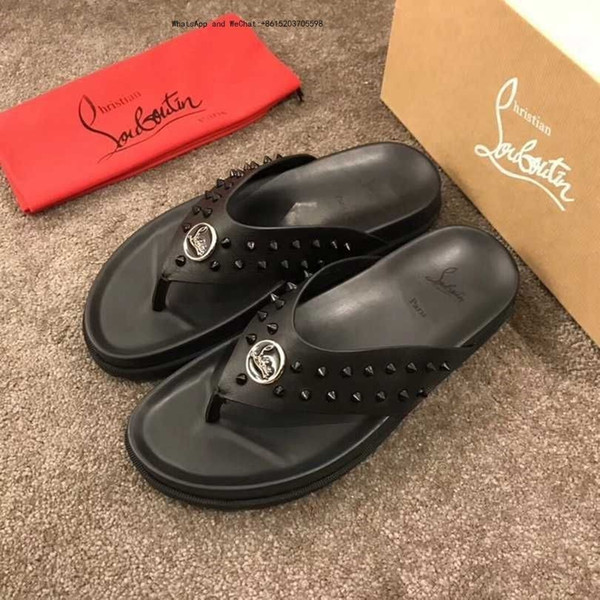 2019 High Quality Mens Slippers Brand Slide Sandals Men's Beach Shoes Rubber Platform flip flops for leather slippers-men