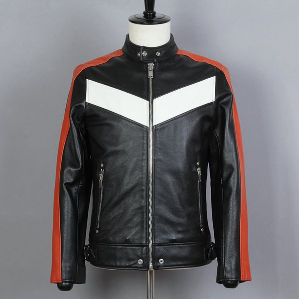2019 Mens Slim Fit Short Motorcycle Jacket Red White Spliced Biker Jacket Men Cowhide Genuine Leather Locomotive Coat Male
