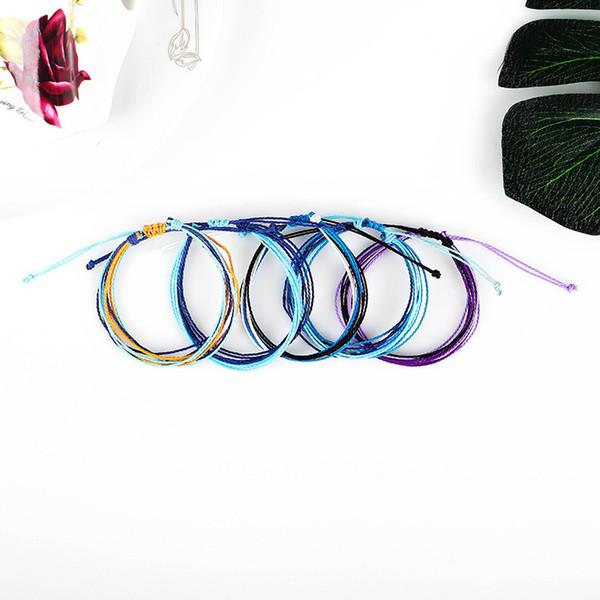 12 Styles Handmade Wax Thread Woven Bracelets Multilayer Friendship Bracelet Wax String Multicolour Bracelets Women Adjustable Bangle H999F