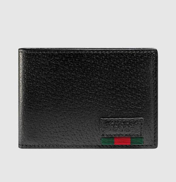 428760 Leather bi-fold wallet with Web MEN WALLET CHAIN WALLETS PURSE Shoulder Bags Crossbody Bag Belt Bags Mini Bags Clutches Exotics