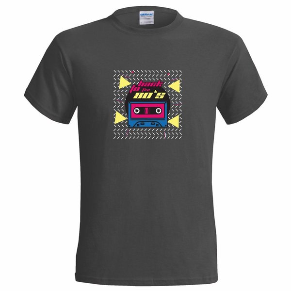 BACK TO THE 80S DESIGN MENS T SHIRT PARTY EIGHTIES FANCY DRESS DISCO RETRO MUSIC white black grey red trousers tshirt