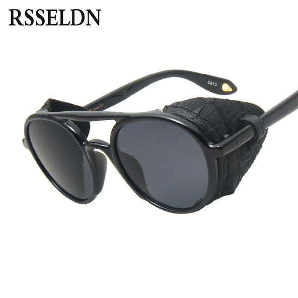 RSSELDN Vintage Lunettes de soleil homme SteamPunk 2019 Cuir de mode avec boucliers latéraux Style Lunettes de soleil rondes pour femme UV400 Oculos