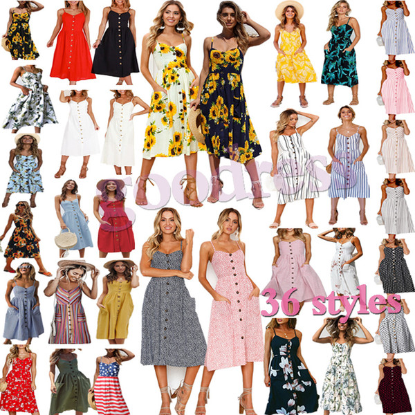 Vestidos de verano Mujeres Sexy Cuello en V Sin espalda Correas Ropa de fiesta en la playa Bohemio Floral impreso Sundress Button Faldas de bolsillo Casual Midi Vestido