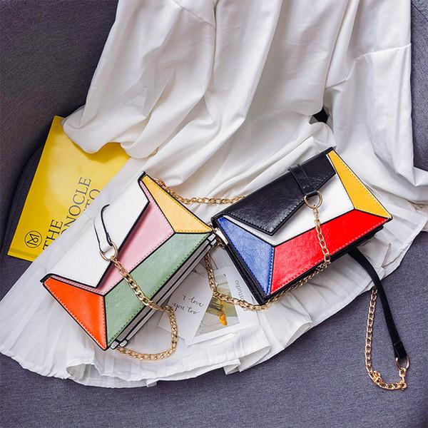 Patchwork Women Messenger Bag Fashion Color Block Chain Women Single Shoulder Bags Geometric Panelled Females Crossbody Bag Flap