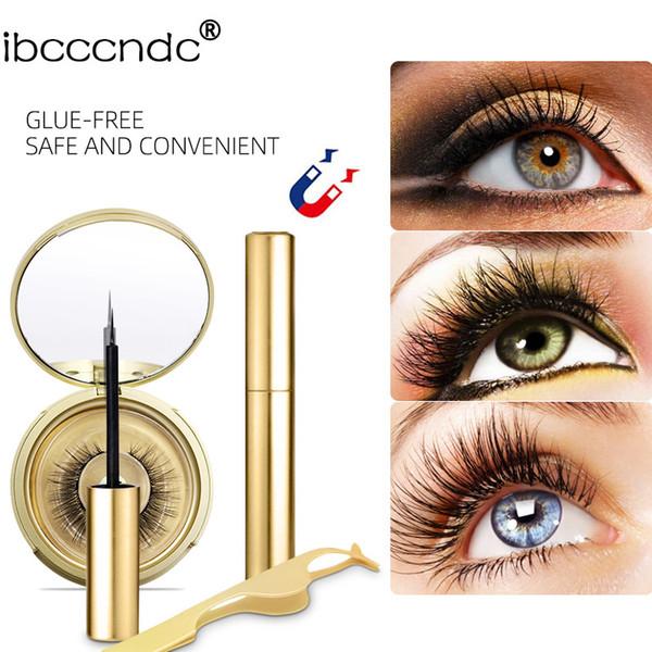 ibcccndc Golden Magnetic Liquid Eyeliner & Magnetic False Eyelashes & Tweezer Set Waterproof Long Lasting Eyeliner False Eyelashes Golden B