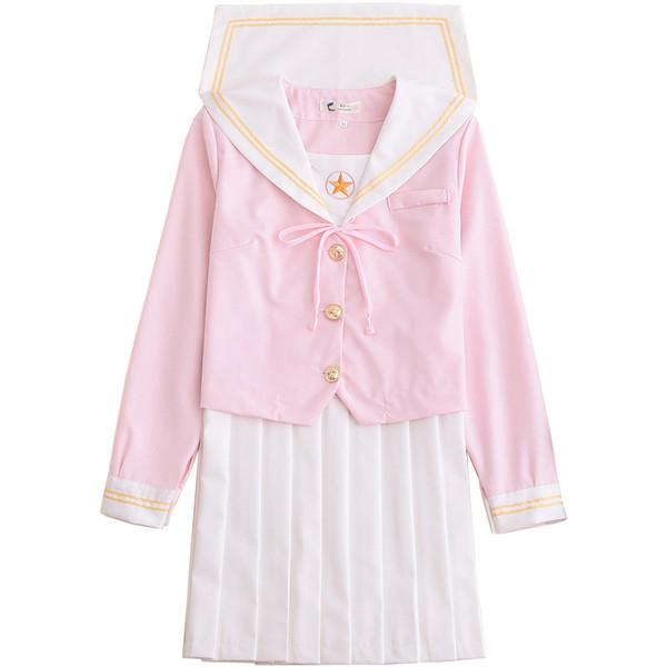 Japanese School Uniform cosplay Women Sakura Light Pink Tops + White Pleated Skirt JK Uniform Girls Japanese Sailor Suit