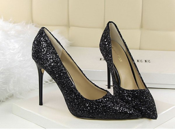 0979c7186 Sydneybag new European and American style women's shoes high-heeled shallow  mouth pointed shiny sequins