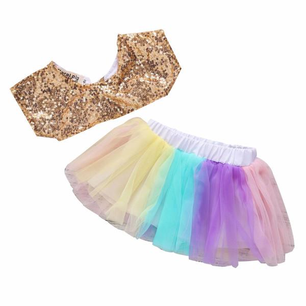 Kids Designer Brand Suit Beaded Top Color Skirt Mesh Short Sleeve Elastic Waistband Back Strap Design 61