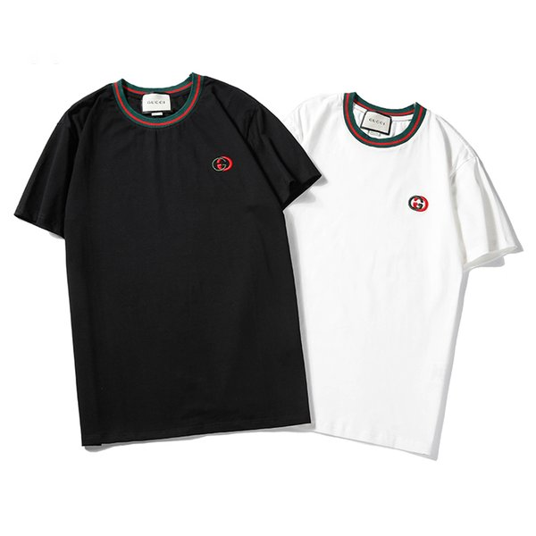 Hommes Designer T Chemises 2019 Hommes Marque De Mode Lettre Broderie Tops Tee Mens De Luxe Unie Couleur Respirant T-shirts Hommes Femmes Couple T-shirts