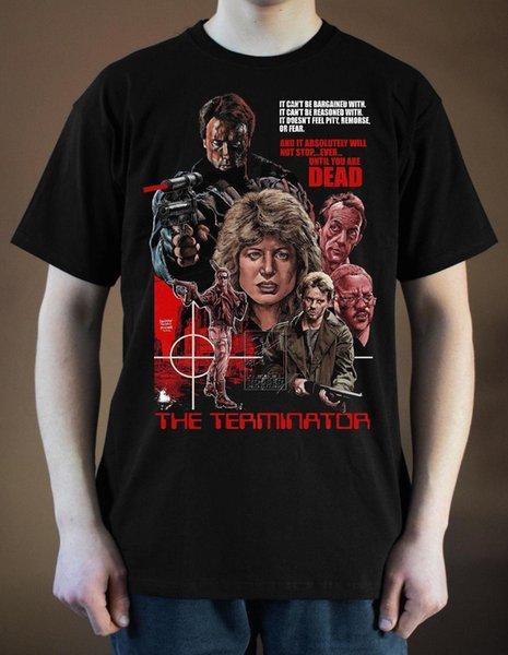 Терминатор плакат ver. 5 Schwarzenegger футболка (черный, белый,) S-3XL новое прибытие мужской тройники повседневная мальчик футболка топы скидки