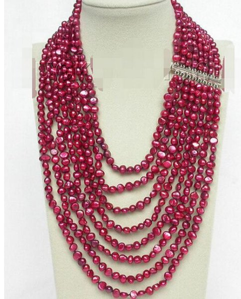 "FREE SHIPPING++17""-24"" 8row baroque wine red pearls necklace 925 silver clasp"
