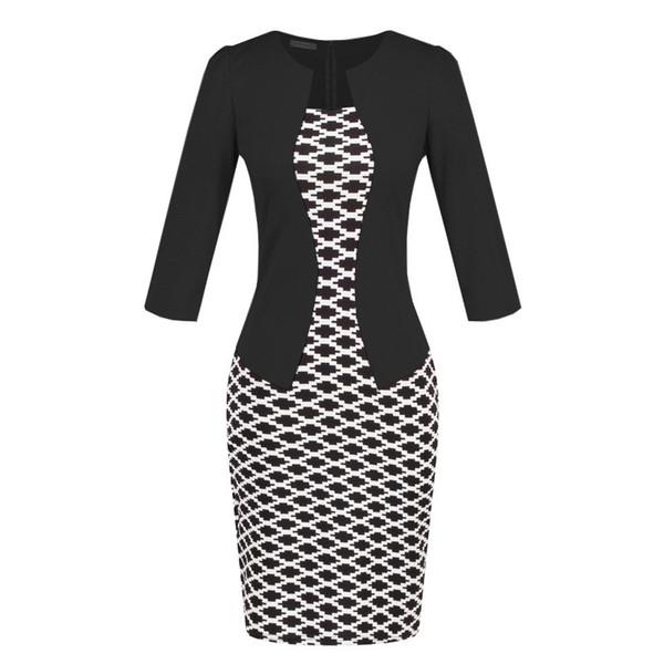 Fake two-piece professional women bag hip sexy work dress lady slim fit pencil dress business attire