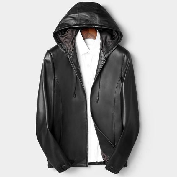 Plus Size L-4XL Hat Real Sheepskin Pilot Jacket Mens Fashion Black Genuine Leather Bomber Jacket Men Hooded Zipper Male Clothes