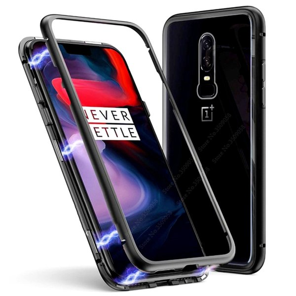 Magnetic Adsorption Tempered Glass Metal Case for Oneplus 6