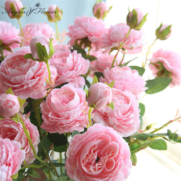 Western rose core 3 heads peony artificial flower manufacturers home Christmas decor wedding silk flower wall materials peony