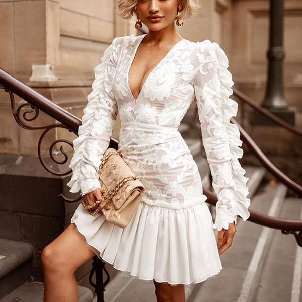 2019 Yeni Varış Kadın Elbise Seksi V Yaka Uzun Kollu Ruffled Tarzı Yüksek Bel Kadınlar Elbise Vestidos Beyaz Elbiseler Parti Gece