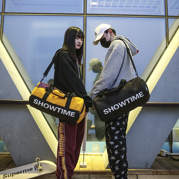 Harajuku Men Women SHOW TIME Printed Travel Bags Female Luggage Crossbody Bag Large Capacity Fitness Bag