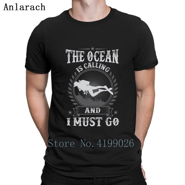 Scuba Boat The Ocean Is Calling And I Must T Shirt Cheap Sale Summer Style Big Sizes Streetwear Homme Custom Fitted