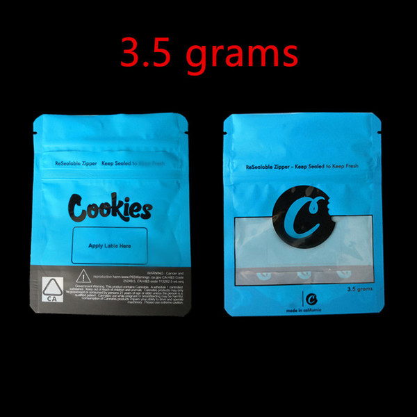 top popular COOKIES California SF 8th 3.5g Mylar Childproof Bags 420 Packaging Connected Cookies Bag size 3.5g-1 8 Bags 2019