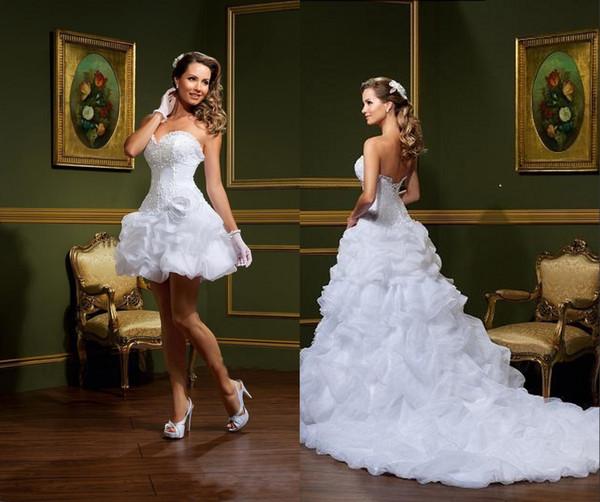 Sexy Vestido De Noiva White Ball Gown Wedding Dresses Strapless Sweetheart Pick-Ups Removable Skirt Arabic Mini Short Bridal Gowns