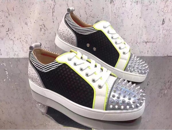 Famous Designer Women,Mens Leisure Flats Mesh Leather,Spikes,Rhinestone Red Bottom Sneakers Shoes High Quality Leisure Flats With Box top