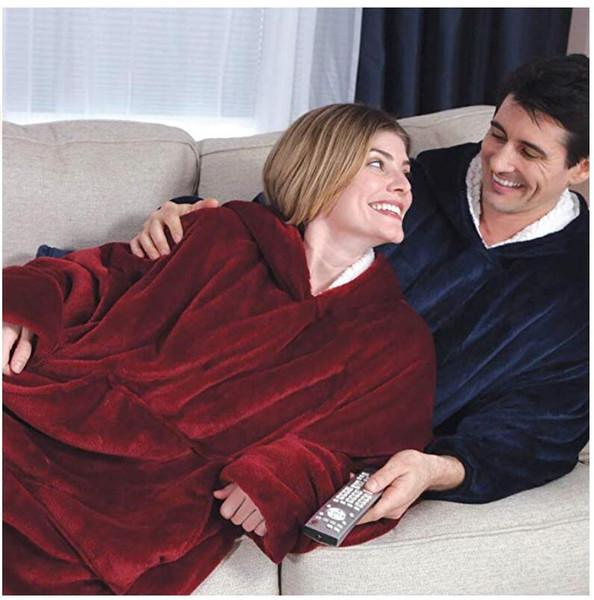 Hiver molletonnée famille TV Couverture extérieure Manteaux d'hiver à capuchon de laine Blanket pull pour les hommes et les femmes