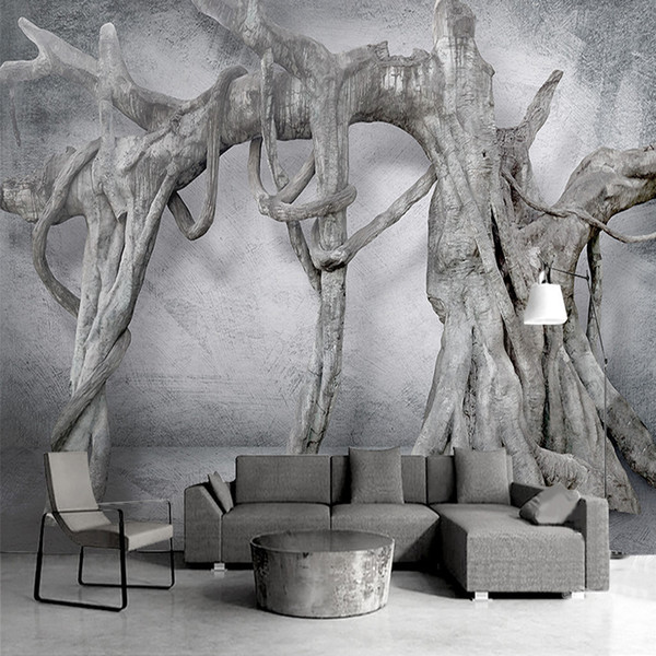 Custom Mural Wallpaper Modern Fashion Black And White Art Wall Painting 3D Tree Root Embossed Non-woven Living Room Home Decor