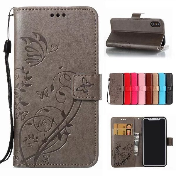 Butterfly Embossed Magnetic Flip Wallet Card Holder Shockproof PU Leather Stand Phone Case Cover For Samsung Galaxy S7 S6 Edge S8 Plus Note8
