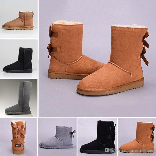 2019 Snow Winter Leather Women Australia Classic kneel half Boots Ankle boots Black Grey chestnut navy blue red Womens girl shoes