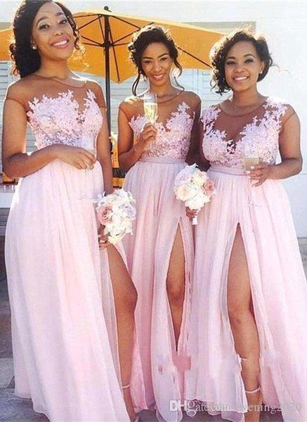 Hermosos vestidos de dama de honor de gasa de encaje Corte de dama de honor Vestido de dama de honor Vestidos de noche para las mujeres nigerianas de boda de invitados
