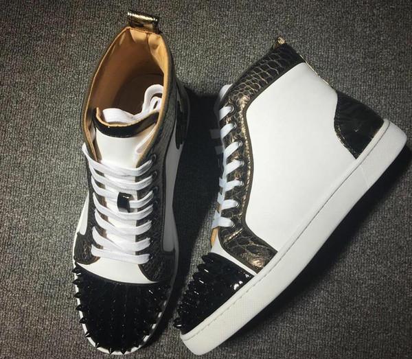 2019 Новый дизайнерский бренд шипованных шипах обувь на плоской подошве с красной подошвой для мужчин, любителей вечеринок из натуральной кожи, кроссовки Размер 35-45 w108