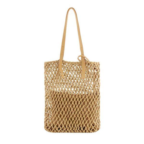 Women Woven Shoulder Bag Handmade Cotton Thread Handmade Hollow Out Straw Hand Bags Beach Fashion Casual Tote Handbag For Ladies