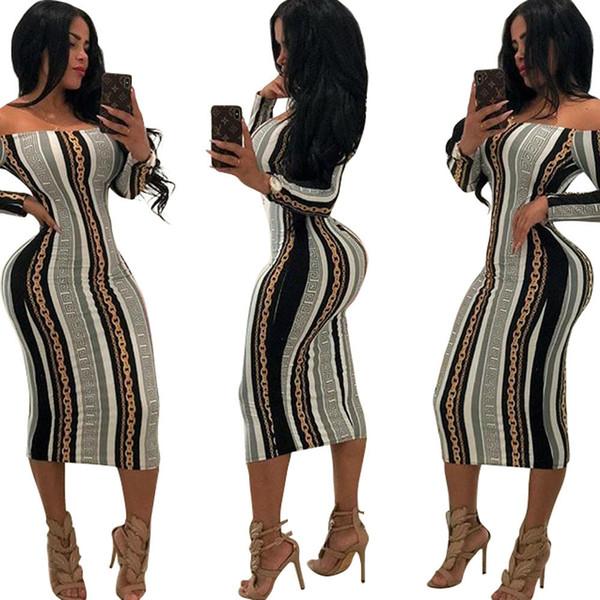 Gonna lunga da donna 2019 primavera nuovo arrivo stampato abiti sexy discoteca stile slash collo colonna abiti da donna
