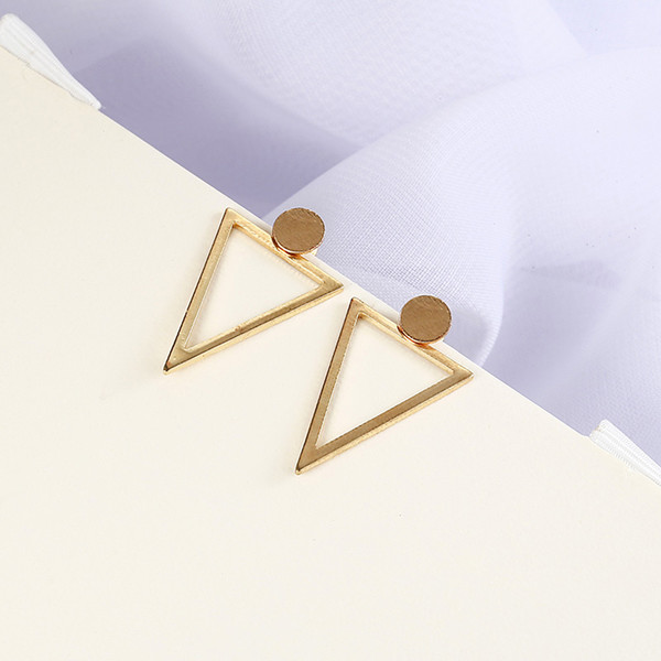 E0113 Fashion Trendy Jewelry Silver/gold Color Dangle Hollow Out Triangle Drop Earrings Hiphop Rock Simple Earring For Women