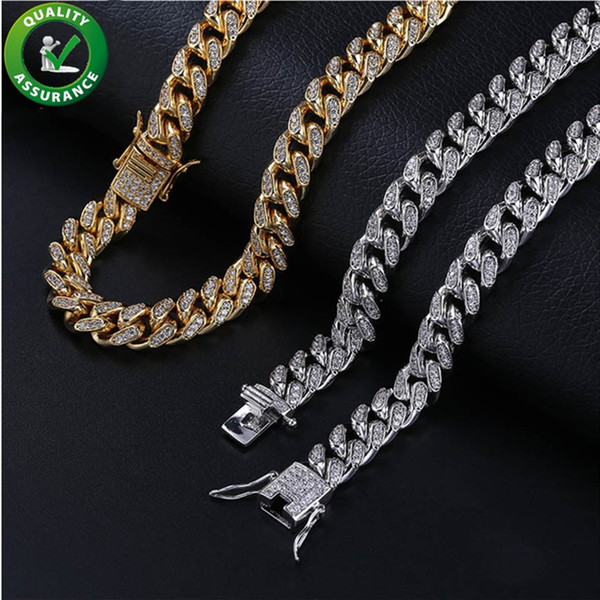 Iced Out Chains Designer Necklace Hip Hop Jewelry Mens Gold Chain Diamond Cuban Link Luxury Pandora Style Charms Fashion Wedding Accessories