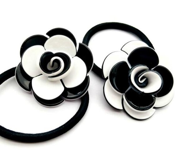 4PCS Classic 3D Camellia Hair Tie Luxury Accessories collection item logo Acrylic Hair Rope Good quality VIP party gift