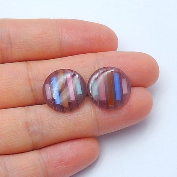 Cymophane Gemstone Cabochon Pair,Stone for jewelry making, 15x2mm,1.9g