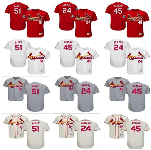 pretty nice 240b3 ed1f3 2019 2019 Custom Men'S Women St. Louis Cardinals Jersey #24 Whitey Herzog  45 Bob Gibson 51 Willie McGee Home Blue Kids Girls Baseball Jerseys From ...