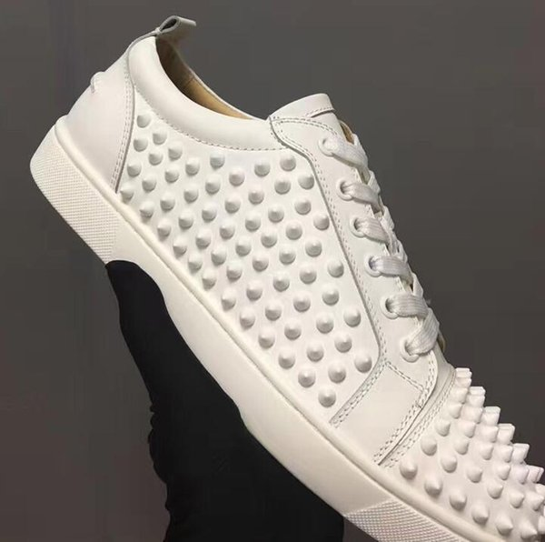 Tasarımcı Düşük Üst siyah deri ile sivri Dantel Up Nedensel Adam kadın Ucuz Sneaker Kırmızı Mavi Siyah Düz Alt Parti Ayakkabı Boyutu 36-47