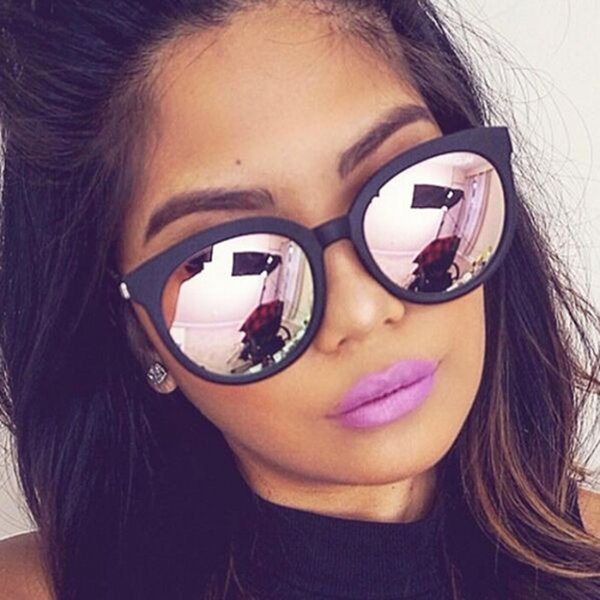 best selling Cat Eye Pink Woman Shades Mirror Female Square Sun Glasses For Women Coating Oculos Fashion Brand Sunglasses C19041601